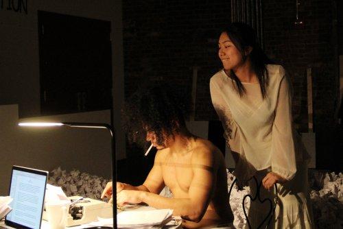 "John Gutierrez and Yeena Sung in a scene from Robert Patrick's ""Hi-Fi | Wi-Fi | Sci-Fi"" (Photo credit: Minji Lee)"