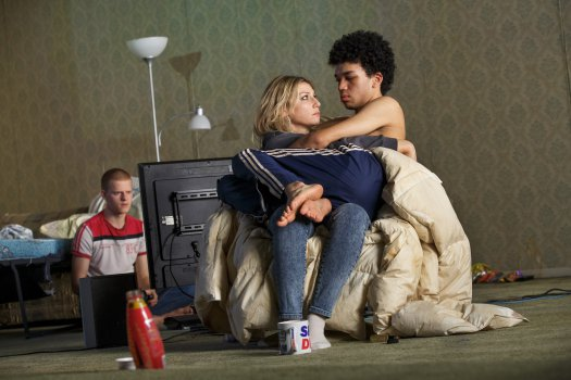 "Lucas Hedges, Ari Graynor and Justice Smith in a scene from ""Yen"" (Photo credit: Joan Marcus)"