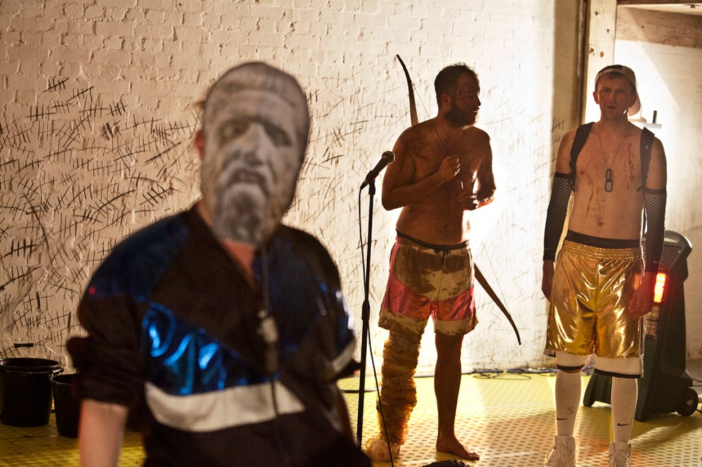 Stinkfoot by Jeff James. Rosie Thomson as Odysseus, Daniel Millar as Philoctetes and Joshua Miles as Neo. credit Bronwen Sharp