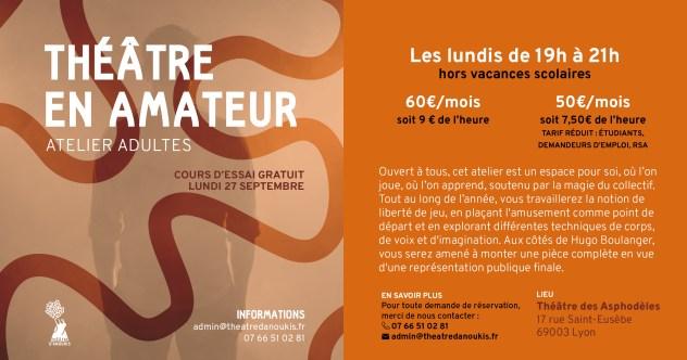 flyer-cours theatre amateurs 2019-2020 lyon