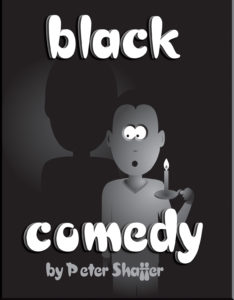 "cartoon logo for ""Black Comedy"" showing a frightened man in the dark with a lit candle"