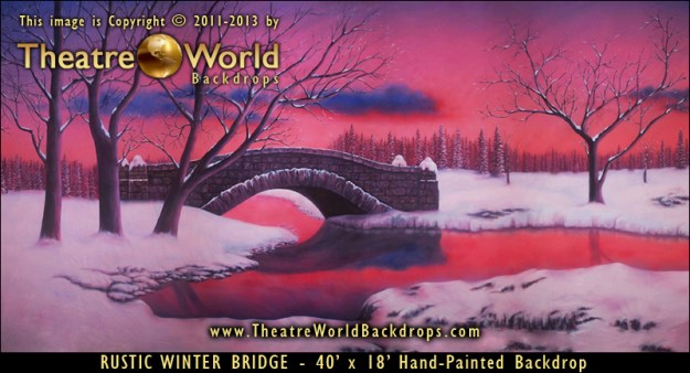 Rustic Winter Bridge Professional Scenic Backdrop