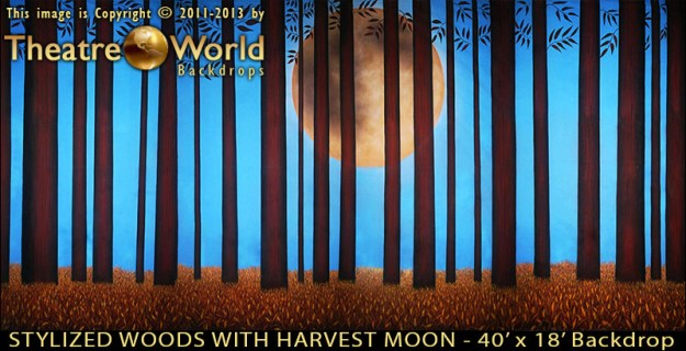 Stylized Woods with Harvest Moon Professional Scenic Backdrop