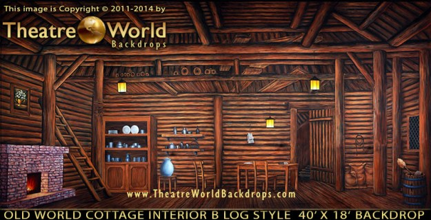 TheatreWorld's Old World Cottage Interior B Professional Scenic Backdrop