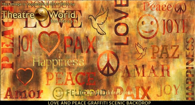 Love and Peace Graffiti Professional Scenic Backdrop