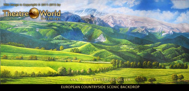 Professional Scenic Backdrop European Countryside