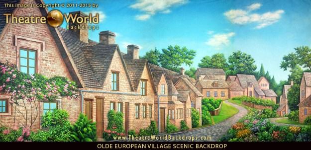 Professional Scenic Backdrop Olde European Village