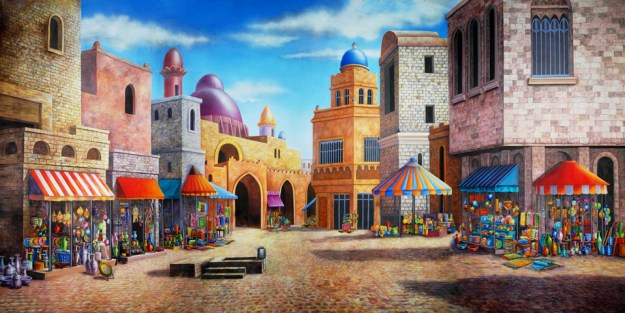 Aladdin Agrabah Marketplace Professional Scenic Backdrop