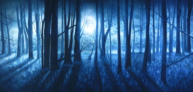Professional Cinderella Blue Full Moon Scenic Backdrop