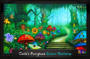 Professional Alice in Wonderland Child's Fairyland Scenic Backdrop