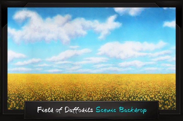 Professional Alice in Wonderland Field of Daffodils Scenic Backdrop