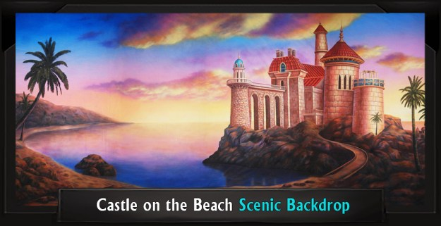 Castle on the Beach Professional Scenic Little Mermaid Backdrop