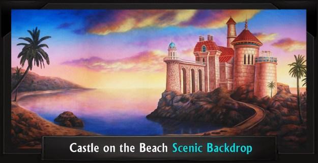 Castle on the Beach Professional Scenic Little Mermaid Backdrop
