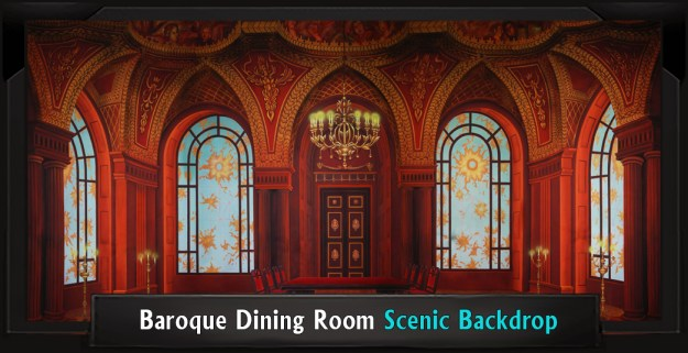 Baroque Dining Room Professional Scenic Addams Family Backdrop