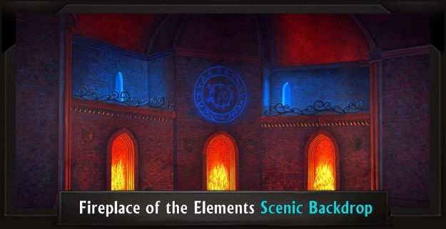 Fireplace of the Elements Professional Scenic Addams Family Backdrop