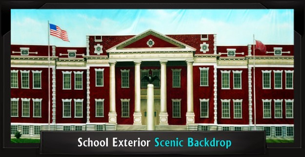 School Exterior Professional Scenic Legally Blonde Backdrop