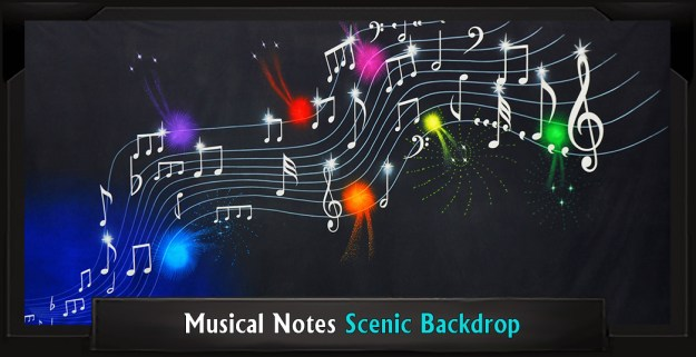 Musical Notes Professional Scenic Grease Backdrop