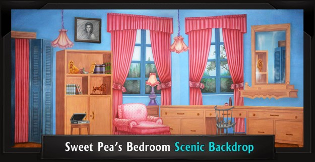 Sweet Pea's Bedroom Professional Scenic Grease Backdrop