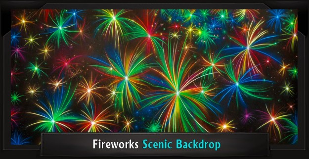 SEUSSICAL Professional Scenic Fireworks Backdrop