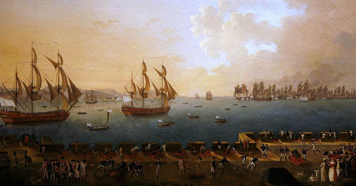 Le combat de la Martinique (1779), vu par le peintre Rossel de Cercy.