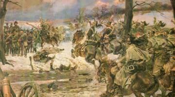 Bataille de Montmirail (1814) : La cavalerie de la Garde se jette sur les carrés russes (peinture de Wojciech Kossak)
