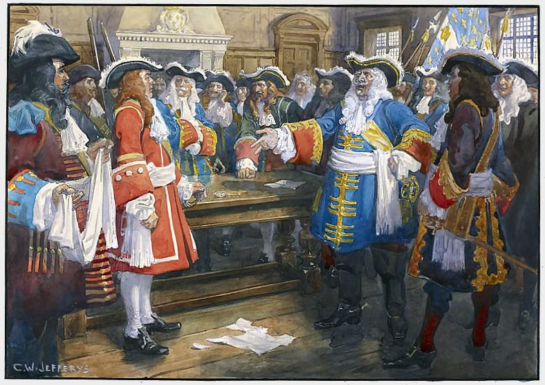 Frontenac recevant l'émissaire de Sir William Phipps.