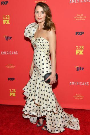 Keri Russell in Johanna Ortiz alla The Americans premiere, New York