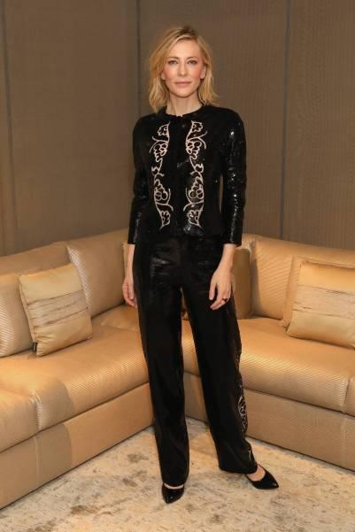 Cate Blanchett in Giorgio Armani al Giorgio Armani Casa Boutique opening, London