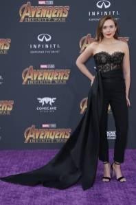 Elizabeth Olsen in Oscar de la Renta all''Avengers Infinity War' premiere, Los Angeles