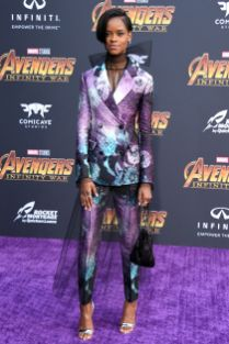 Letitia Wright in Prada all''Avengers Infinity War' premiere, Los Angeles