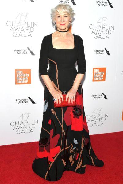 Helen Mirren in Valentino ai Chaplin Award Gala, New York.