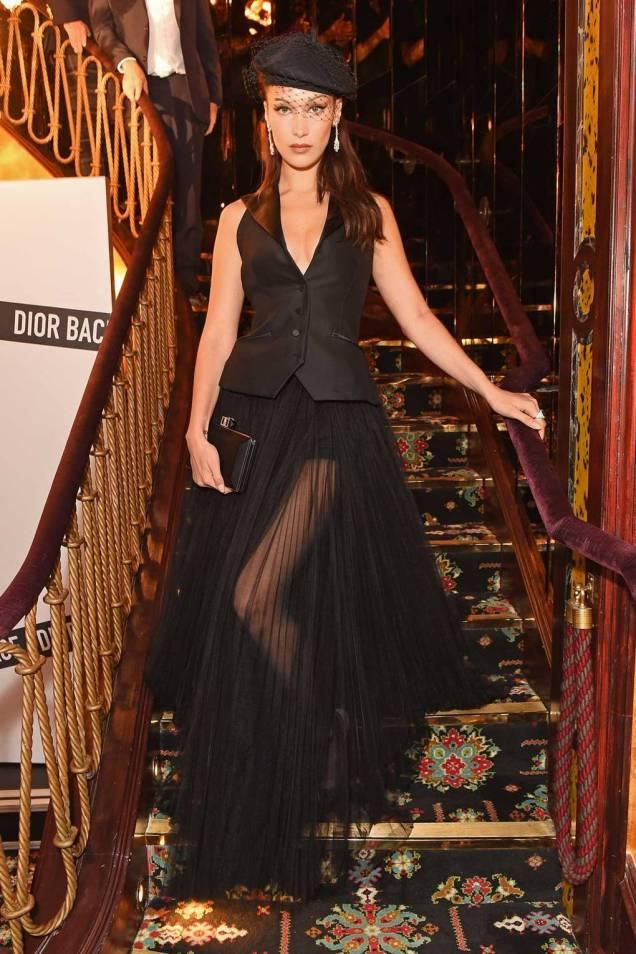 Bella Hadid in Dior al Dior backstage launch party, London