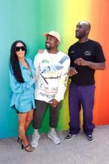 Kim Kardashian, Kanye West e Virgil Abloh al Louis Vuitton SS 2019 menswear show, Paris