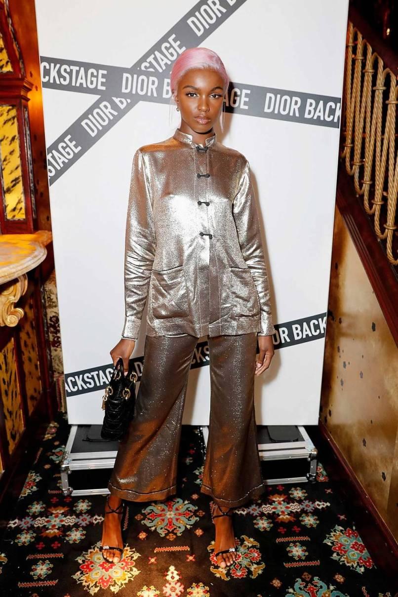 Leomie Anderson in Dior al Dior backstage launch party, London