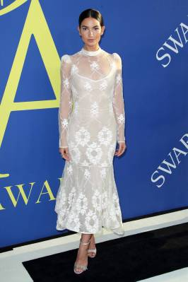 Lily Aldridge in Brock Collection ai CFDA Awards 2018