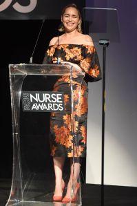 Emilia Clarke con gioielli Tiffany & Co ai Nurse Awards per i 70 anni del NHS