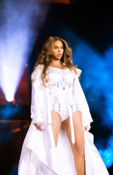 Beyonce wearing custom Burberry for her `On the Run II' tour performance at the NRG Stadium in Houston