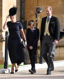 Il Conte e la Contessa di Wessex e James, VIsconte Severn al matrimonio della Principessa Eugenia di York, Windsor