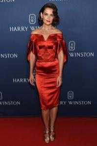 Katie Holmes in Zac Posen, gioielli Harry Winstone scarpe Alaia all'Harry Winston event jeweller's new collection, NY
