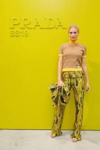Poppy Delevingne in Prada al Prada show, Milano Fashion Week