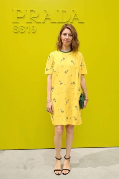 Sofia Coppola in Prada al Prada show, Milano Fashion Week