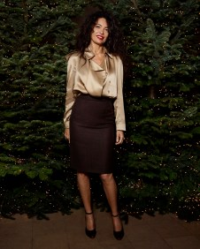 Afef Jnifen in Burberry event hosted by Kristin Scott Thomas to celebrate Christmas in Paris