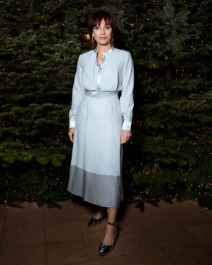 Kristin Scott Thomas in Burberry at an event hosted by Kristin Scott Thomas to celebrate Christmas in Paris