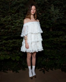 Mia Goth in Burberry at an event hosted by Kristin Scott Thomas to celebrate Christmas in Paris