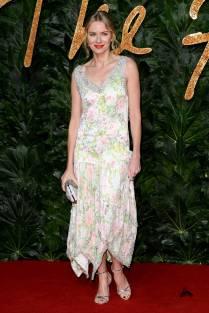Naomi Watts in Richard Quinn ai Fashion Awards 2018, London