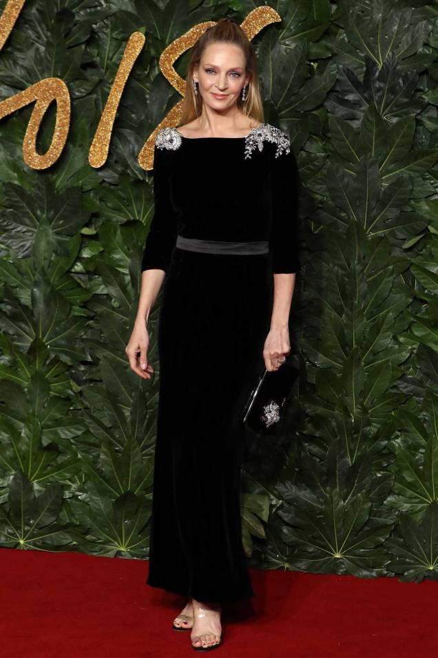 Uma THurman in Prada ai Fashion Awards 2018, London