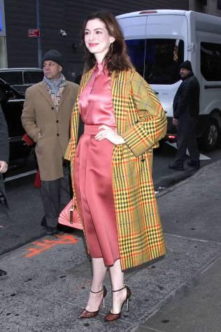 Anne Hathaway in Gabriela Hearst, NY