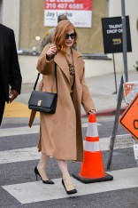 Jessica Chastain wearing Burberry, Los Angeles