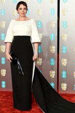Olivia Colman in Emilia Wickstead ai BAFTAs 2019, London