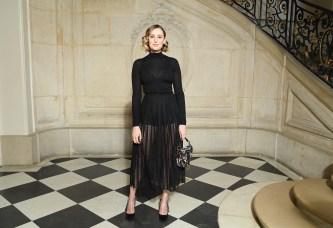 Laura Carmichael in Dior alla sfilata DIor AW 2019/2020